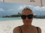 Me on Isla Mujeres beach in the minute between rain storms