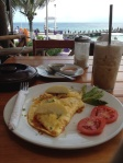 Omellete with a beach on the side