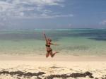 Emily jumping for joy