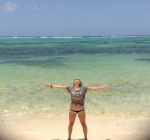 Emily loving the Cayman Islands